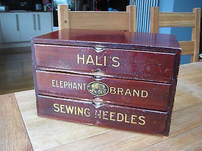 Vintage Sewing Box..hall`s Elephant Brand Sewing Needles..vintage Shop Display
