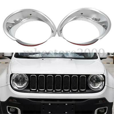 for Jeep Renegade 2016 Chrome Front Headlight Head Lamp Cover Trim Bezel Frame