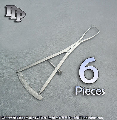 6 Pieces Castroviejo Caliper Ridge Mapping Width 0-40mm Implant Dental Insrument