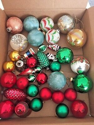 Beautiful Lot of 36 Vintage Glass Christmas Ornaments Balls Acorns + More