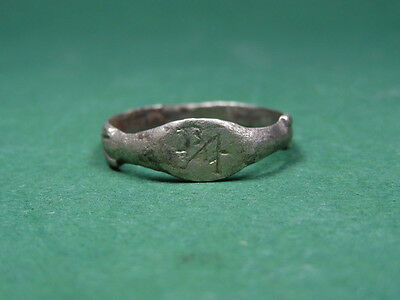 Ancient Silver Ring Engraved Monogram & Lotus Design Byzantine 400-600 Ad
