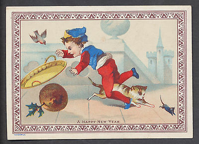 C11415 Good Victorian Goodall New Year Card: Cat Causing Pudding Accident
