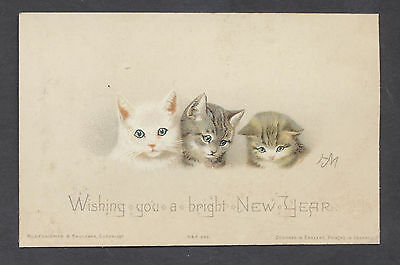 C11416 Victorian New Year Card: Cats, Helena Maguire