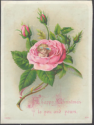 C11420 Victorian Rothe Xmas Card: Fairy in Rose