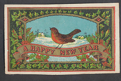 C11437 Small Victorian New Year Card: Robin 1860s