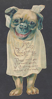 C11439 Victorian Die Cut Xmas Card: Pug Waiting For Dinner