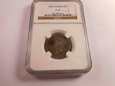 1870 Canada Twenty Five Cents - NGC F 15 Nice Collector Grade - # - 3717096-016