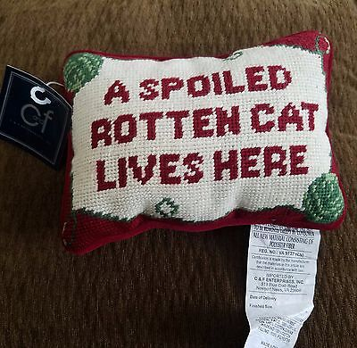 A SPOILED ROTTEN CAT LIVES HERE Needlepoint decorative pillow back soft