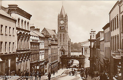 Postcard Londonderry Derry Northern Ireland early view of Shipquay Street old RP
