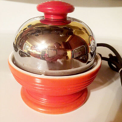 RED Vintage Art Deco HANKSCRAFT Egg Cooker with FIESTA Pottery - Works great!