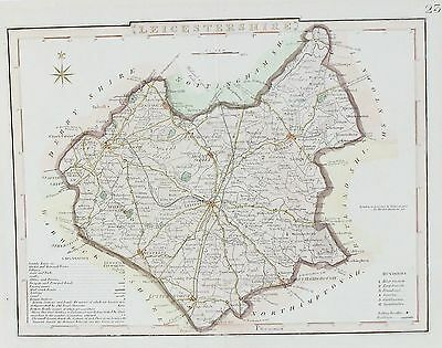 OLD ANTIQUE MAP LEICESTERSHIRE c1840's by J ARCHER ENGRAVING