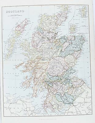 OLD ANTIQUE MAP SCOTLAND SHETLAND ORKNEYS c1880's by MACKENZIE PRINTED COLOUR