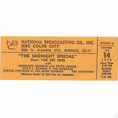 THE BEE GEES Concert Ticket Stub BURBANK CALIFORNIA 7/14/73 NBC MIDNIGHT SPECIAL