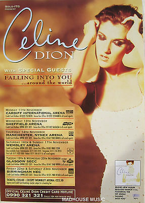 CELINE DION Flyer Falling Into You WORLD TOUR UK Poster 1996 A5 Gloss PROMO Only