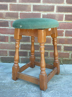 Vintage Retro Wood & Upholstered Low Stool Home Pub Bar 5 Available.