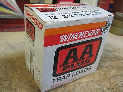 WINCHESTER WESTERN AA PLUS TRAP LOAD shot shell shotgun empty BOX 12 ga
