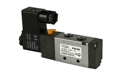 "NEW 110V AC Solenoid Pneumatic Control Valve 5 Port 4 Way 2 Position 1/4"" NPT"