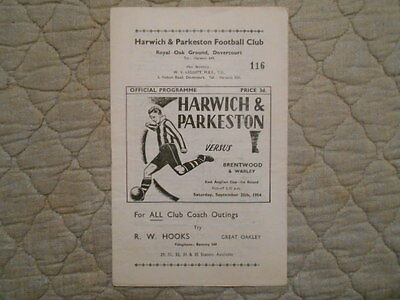 Harwich & Parkeston V Brentwood & Warley East Anglian Cup 1St Round Prog 1954