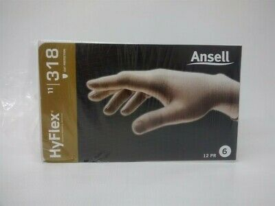 New 12 Pk Ansell HyFlex 11-318 18 Gauge Cut Resistance ESD Knitted Gloves Size 6