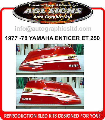 1977 - 1978 YAMAHA ENTICER ET250 SNOWMOBILE DECAL KIT reproductions graphics