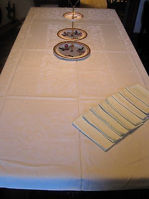 """Lovely Antique/Vintage MINT GREEN DAMASK Tablecloth +8 Matching Napkins- 80""""x60"""""""