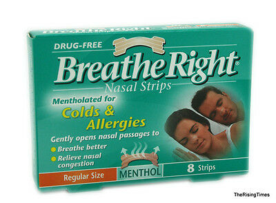 Breathe Right Menthol Nasal Strips Medium (8 count) 1 box of 8 COLDS FLU ALLERGY