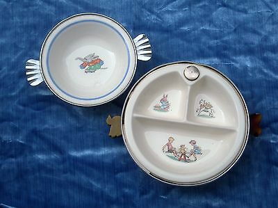 Lot Vintage Bartsch Baby Hot Plate And Majestic Childrens Dinerware