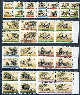 Tanzania 1980 Definitives complete to 40sh in blocks 4 nh mint (2016/11/21#04)