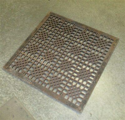 29.25 Ornate Cast Iron Grate Vintage Floor Heat Register Antique Art Deco f