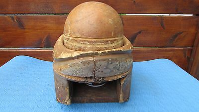 """ANTIQUE Wood Wooden Hat Block Form Mold Millinery BRIM AND CROWN Size 22""""1/2#183"""