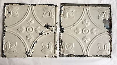 """2 8"""" x 8"""" Antique Tin Ceiling Tiles*SEE OUR SALVAGE VIDEOS* Vintage Ivory LJ5"""