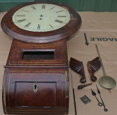 Old Large Inlaid Wooden Fusee Wall Clock To Restore