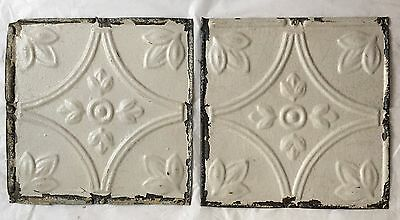 """2 8"""" x 8"""" Antique Tin Ceiling Tiles*SEE OUR SALVAGE VIDEOS* Vintage Ivory LJ10"""