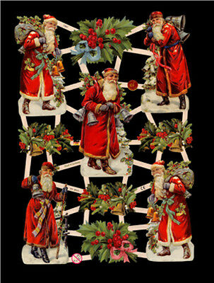 6 Sheets Christmas Santa Clause Victorian Die Cuts Scrapbook Papers Scraps