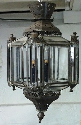 Octagon (8) sided Punched or Pierced Metal & Glass Hanging Fixture ca. 1950's