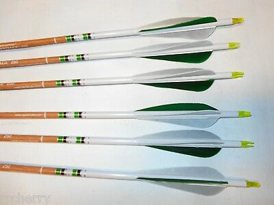 6 Carbon Express Heritage 250 Traditional Recurve Archery Arrows w/ Feathers