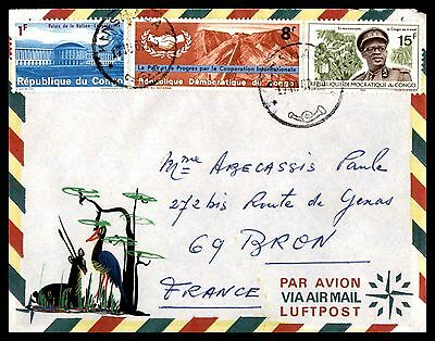 Kinshasa Republic Of Congo Aug 17 1967 Air Mail Cover To France