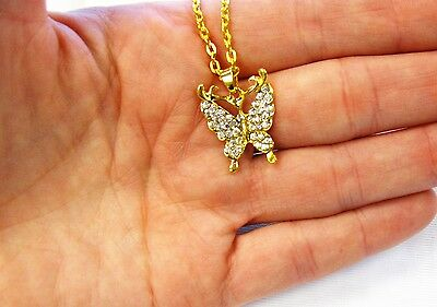 Wholesale Lot 12 PCS  Gold Crystal Butterfly Charm Necklaces & Earrings New Sets