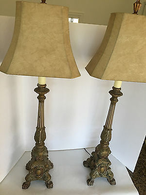 Pair of Antique Italian Carved Wood Gesso Candlestick Lamps