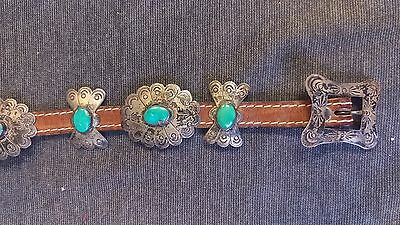 Vintage Navajo Sterling Silver & Turquoise Ladies Concho Belt