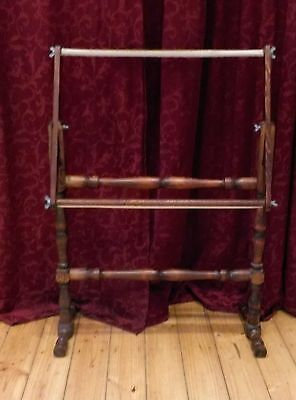 Large Dark Wood Embroidery Needlework Tapestry Frame Stand Like New