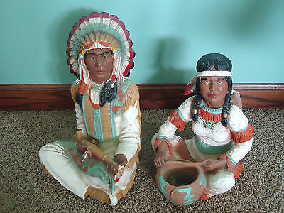 SET Vintage 1976 INDIAN WOMAN & BABY CHIEF MAN PEACE PIPE Native American Statue