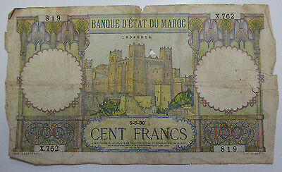 Vintage - 1938 Morocco - 100 Francs - Free Shipping!!!