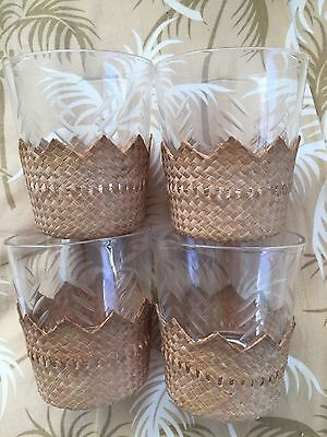 Vintage Hawaiian 4 Lauhala Coasters On Bottom Of Small Glasses; Gorgeous