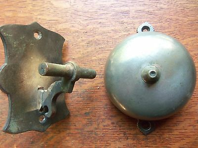 Antique Brass Craftsman Mechanical Doorbell &  Lever Pat 1874