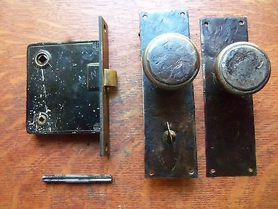 Antique Hand-Wrought Craftsman Door Set Doorknobs, Doorplates, Keyed Lock