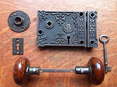 Antique Ornate Iron Rim or Box Lock Set  c1900 Brown Mineral Doorknobs Shapleigh