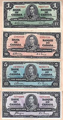 1937 Bank of Canada KGVI Portrait Set of 7 Notes, $1-$100 Complete Set