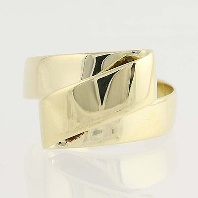 Contemporary Italian Bypass Ring - 14k Yellow Gold Women's Size 7 3/4