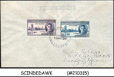 Falkland Islands - 1947 Envelope To Usa With Kgvi Victory / Peace Stamps